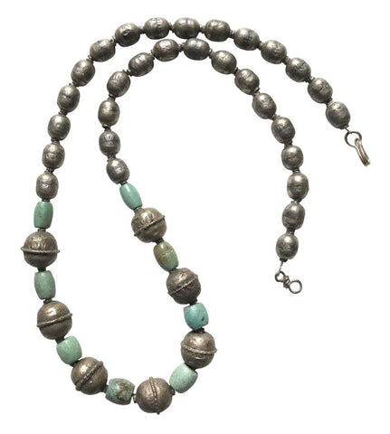 Antique Silver and Turquoise African Necklace - Matthew Izzo Home