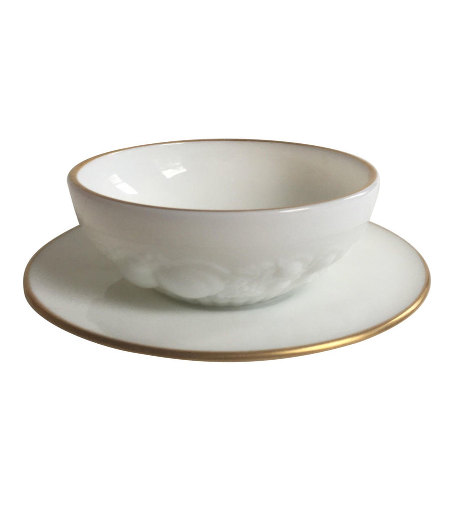 Antique Milk Glass Soup Bowl & Saucer - A Pair - Matthew Izzo Home