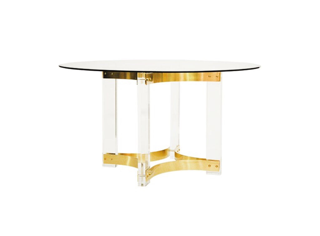 "Worlds Away Hendrix Brass Round 54"" Dining Table"