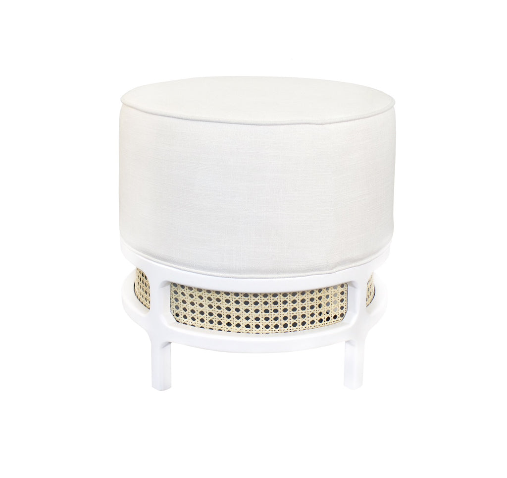 Worlds Away Lyanna Rustic White Stool - Matthew Izzo Home