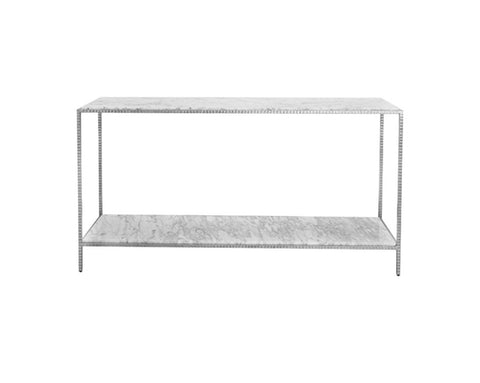 Worlds Away Agnes Marble Silver Leaf Console Table - Matthew Izzo Home