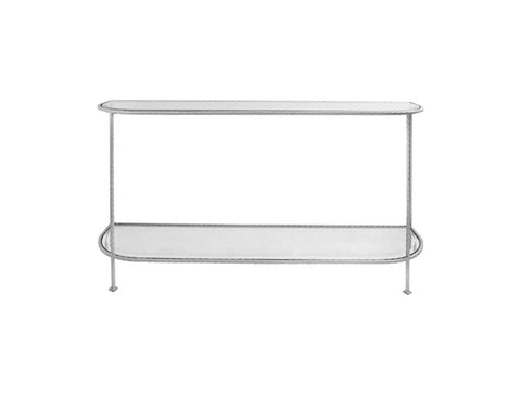 Worlds Away Chauncey Silver Leaf Console Table - Matthew Izzo Home