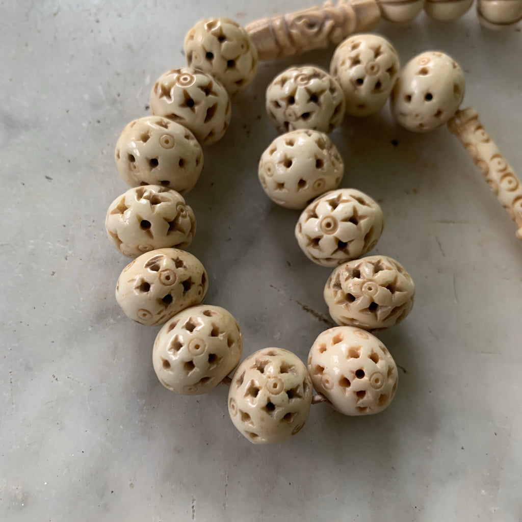 Antique carved bone beads - Matthew Izzo Home