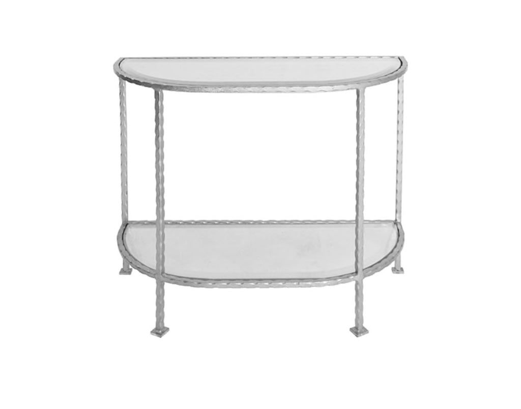 Worlds Away Louie Silver Leaf Iron Side Table