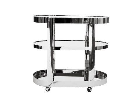 Worlds Away Hugh Mirrored Nickel Bar Cart - Matthew Izzo Home