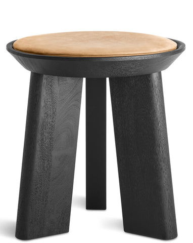 Blu Dot Mimi Modern Black/Camel Leather Stool - Matthew Izzo Home