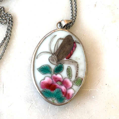 Vintage Chinese hand painted porcelain pendant - Matthew Izzo Home