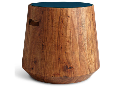 Blu Dot Turn Acacia/Marine Blue Stool - Matthew Izzo Home
