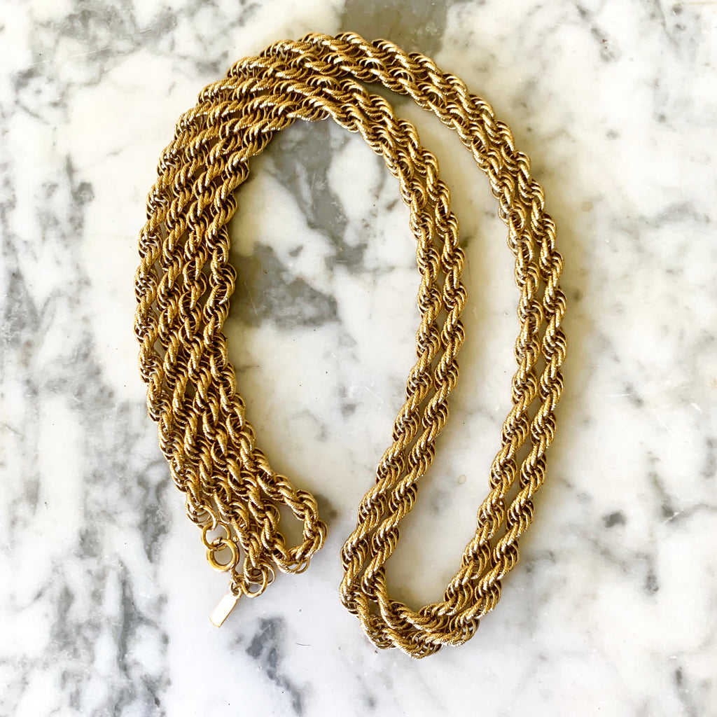 "Vintage Monet Rope Chain 36"" Necklace - Matthew Izzo Home"