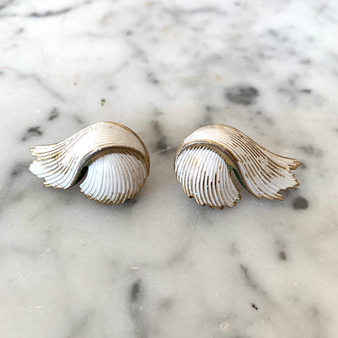 1960s Trifari Gold Tone and White Earrings - Matthew Izzo Home