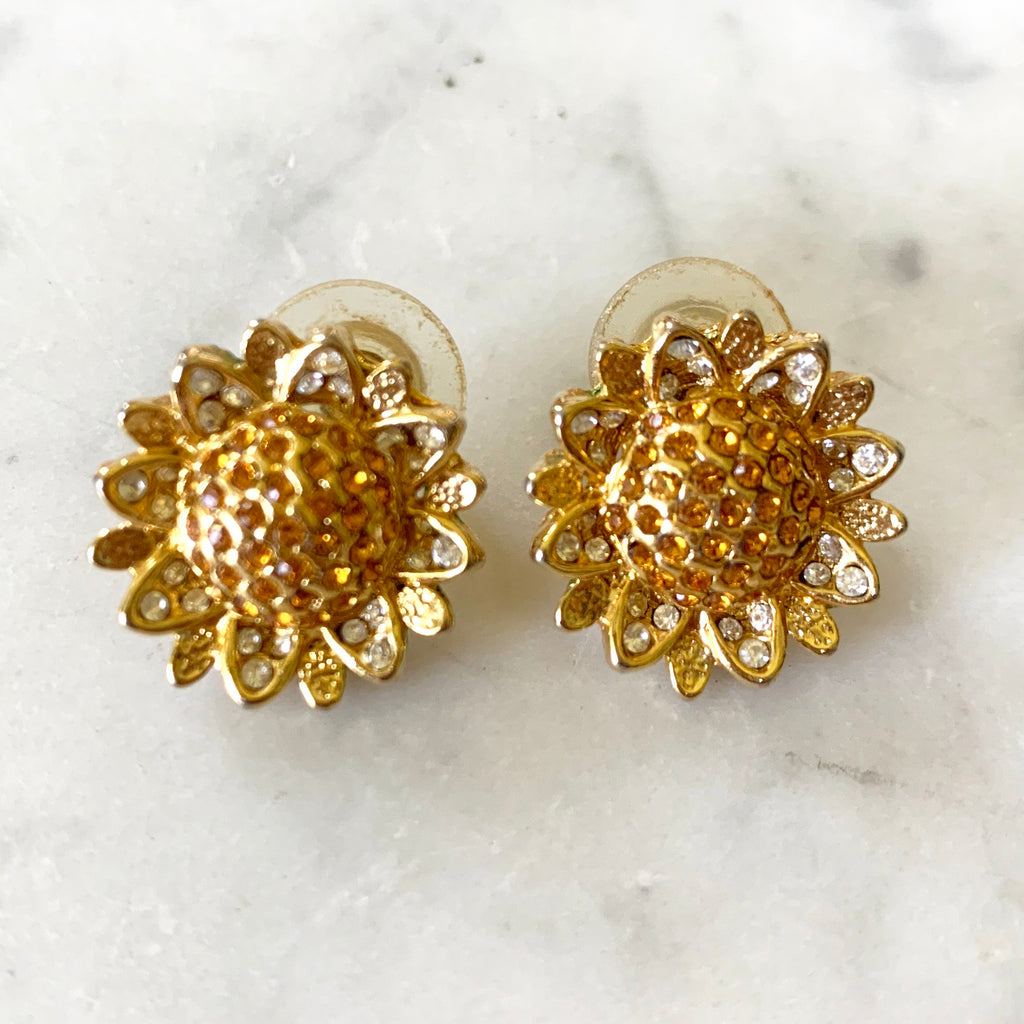 1950s gold tone rhinestone post earrings