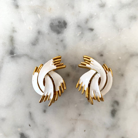 1950s Trifari Gold Tone and White Earrings - Matthew Izzo Home