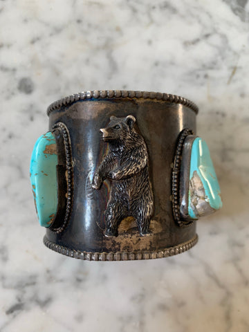 Amazing Bear Sterling Silver and Turquoise Cuff - Matthew Izzo Home