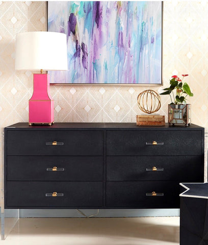 Worlds Away Rutherford 6 Drawer Shagreen and Acrylic Dresser - Matthew Izzo Home