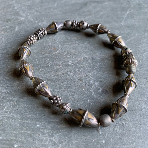 Vintage silver beaded bracelet from India - Matthew Izzo Home
