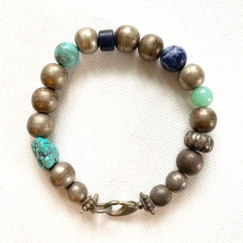 Turquoise Silver and Lapis Bracelet - Matthew Izzo Home