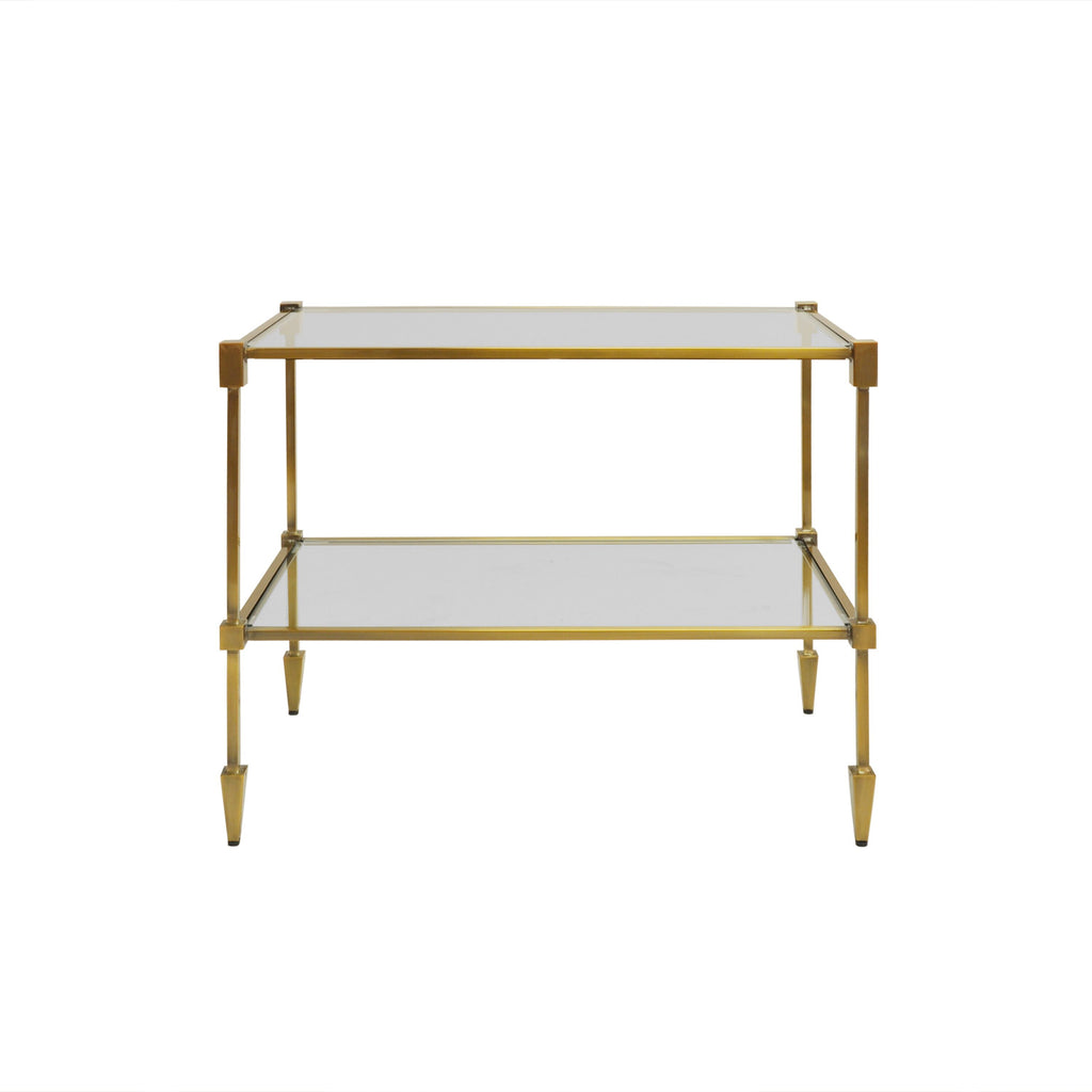 Worlds Away Lasso Two-Tiered Brass Side Table - Matthew Izzo Home