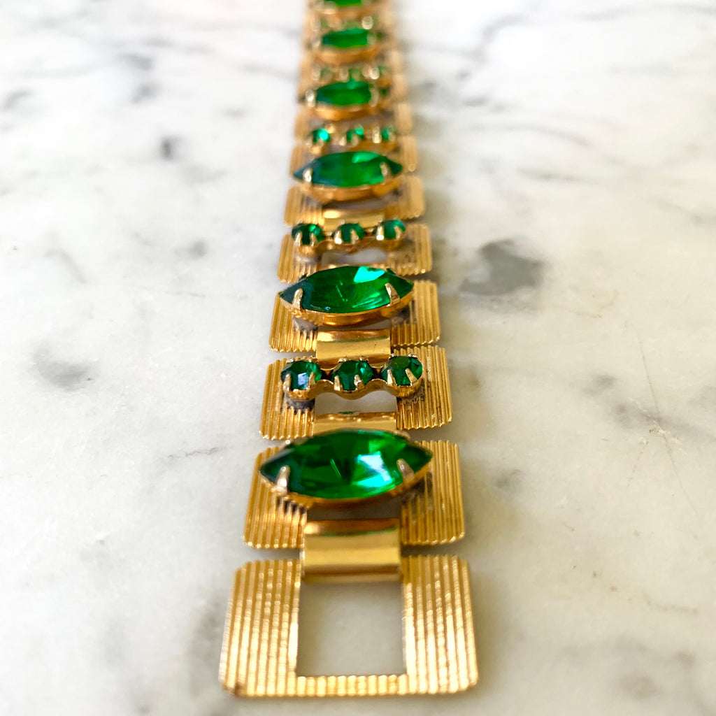 Chic vintage gold and emerald color bracelet - Matthew Izzo Home