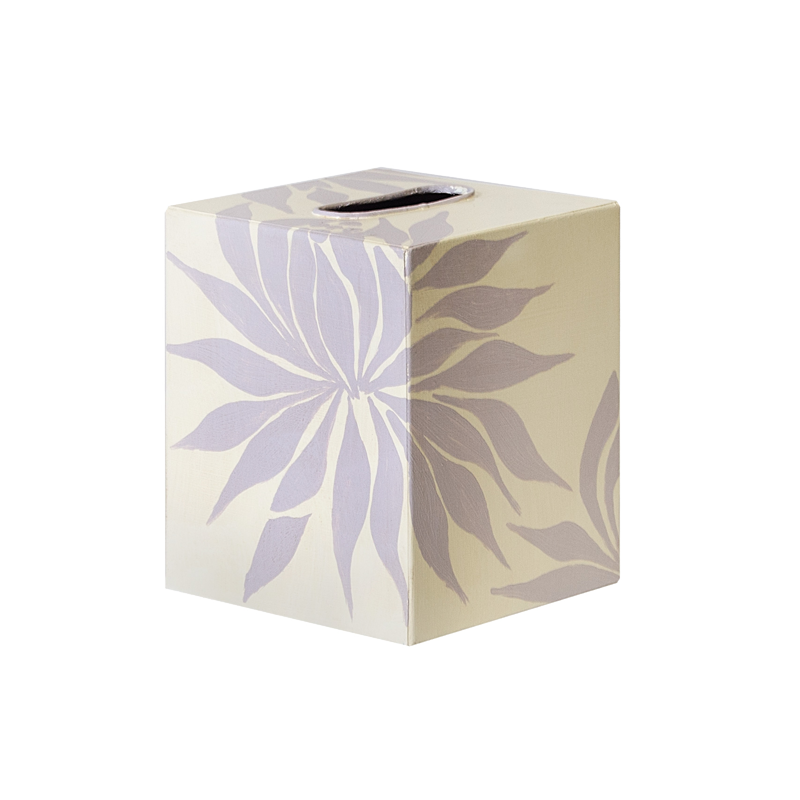 Worlds Away Kleenex Box Cream Floral - Matthew Izzo Home