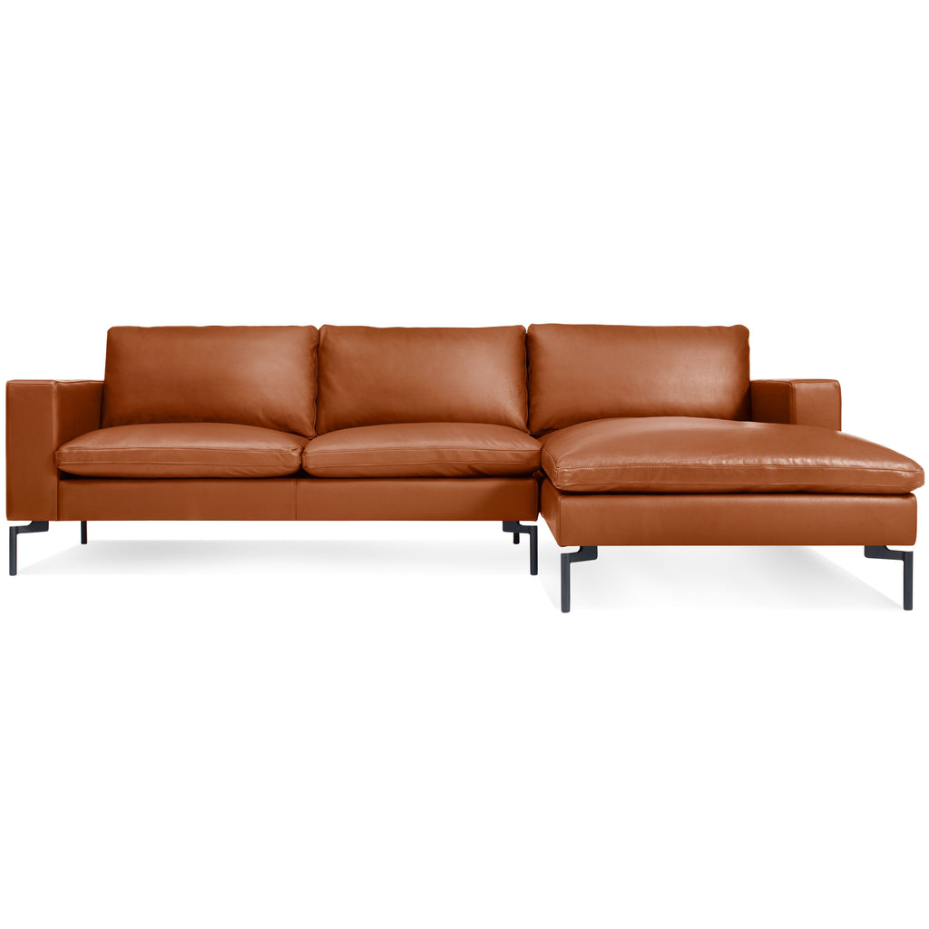 Blu Dot New Standard Leather Sofa w/ Right Arm Chaise - Matthew Izzo Home