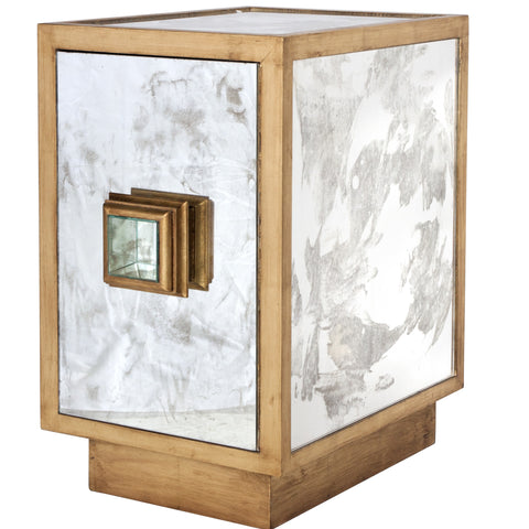 Worlds Away Savannah Gold Leaf Accent Table