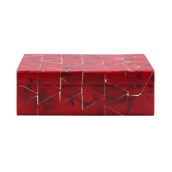 Worlds Away Spencer Red Bone Tile Decorative Box - Matthew Izzo Home