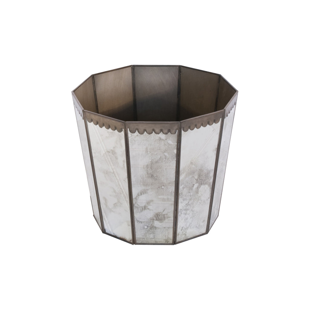Worlds Away Hexagonal Mirrored Wastebasket - Matthew Izzo Home