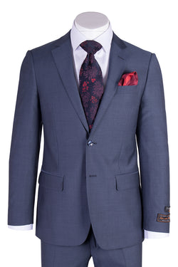 Novello Medium Blue Herringbone Pure Wool Men's Suit by Tiglio Luxe 12A004  Tiglio - Italian Suit Outlet