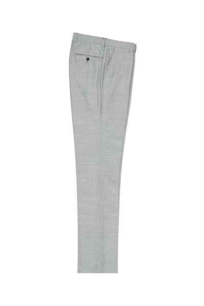 Light Gray Herringbone Flat Front, Pure Wool Dress Pants by Tiglio Luxe 12A005  Tiglio - Italian Suit Outlet