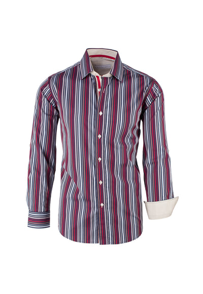Multi-color and Navy Stripe Pattern Modern Fit Sport Shirt by Equilibrio Sport  Equilibrio - Italian Suit Outlet