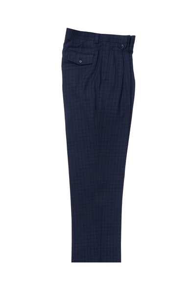 Navy with Black checkered Wide Leg, Pure Wool Dress Pants by Tiglio Luxe 132127/3  Tiglio - Italian Suit Outlet