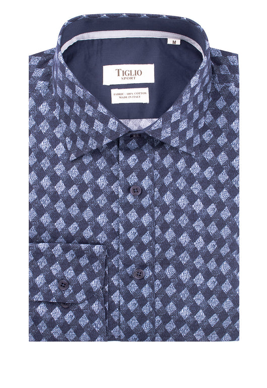 Navy with White Diamond Pattern Modern Fit Sport Shirt by Tiglio Sport 1940/102A  Tiglio - Italian Suit Outlet