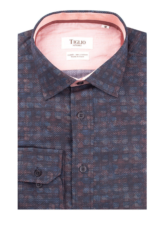 Multi-Color Pattern Modern Fit Sport Shirt by Tiglio Sport 1981/102B  Tiglio - Italian Suit Outlet