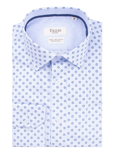 Light Blue with Navy Pattern Modern Fit Sport Shirt by Tiglio Sport 2075/30/00  Tiglio - Italian Suit Outlet