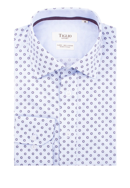 Light Blue with Purple Pattern Modern Fit Sport Shirt by Tiglio Sport  Tiglio - Italian Suit Outlet