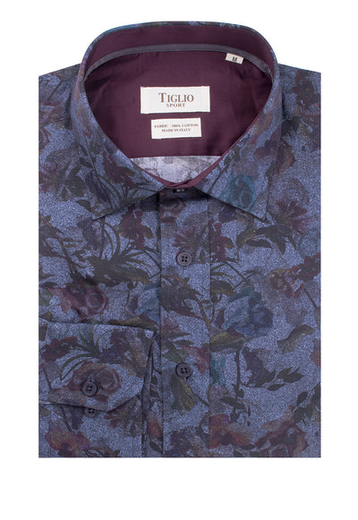 Blue with Floral Pattern Modern Fit Sport Shirt by Tiglio Sport 2107/101B  Tiglio - Italian Suit Outlet