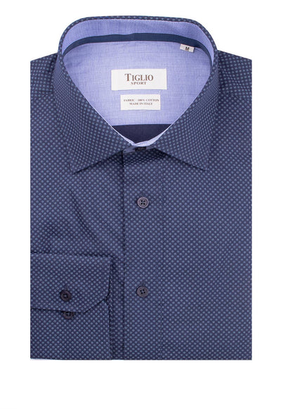 Navy with Light Blue Design Modern Fit Sport Shirt by Tiglio Sport 2109/130/00  Tiglio - Italian Suit Outlet