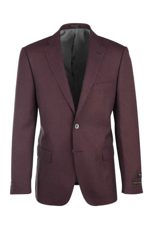 Dolcetto Red & navy mini-check Modern Fit, Pure Wool Jacket by Canaletto Menswear 225321/1  Canaletto - Italian Suit Outlet