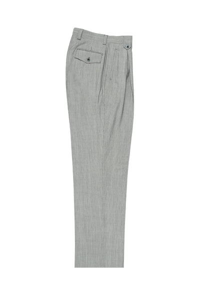 Feather Gray with White Mini-Stripes Wide Leg, Pure Wool Dress Pants by Tiglio Luxe 2270/7/004  Tiglio - Italian Suit Outlet