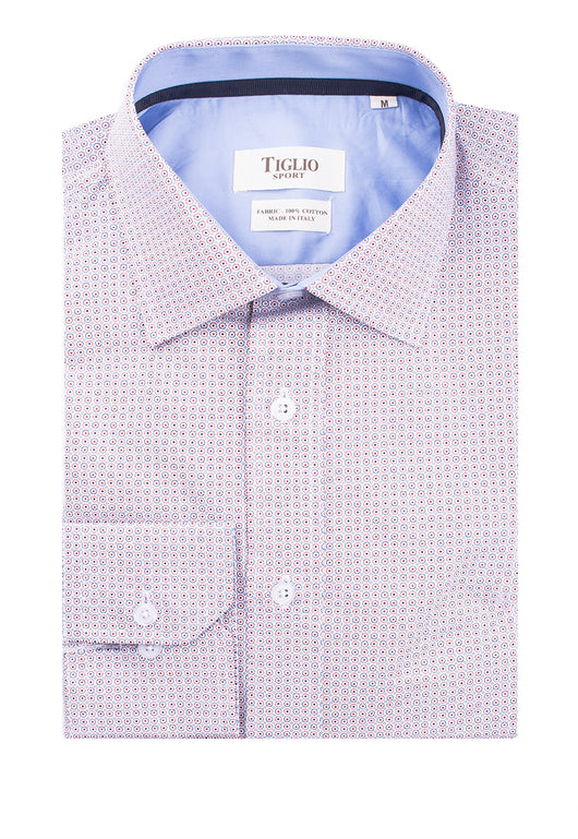 White with Red and Blue Pattern Modern Fit Sport Shirt by Tiglio Sport 2375  Tiglio - Italian Suit Outlet