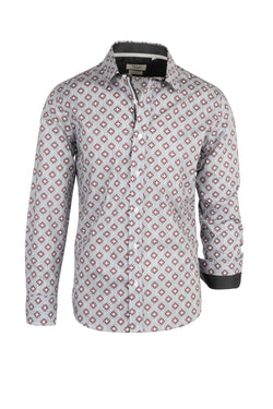 Gray with Red and white Geometric Pattern Modern Fit Sport Shirt by Tiglio Sport 2408  Tiglio - Italian Suit Outlet