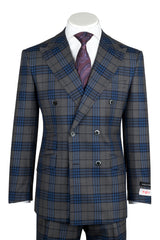 EST Gray with Blue Windowpane/Plaid Wide Leg, Pure Wool Suit by Tiglio Rosso 261313/5  Tiglio - Italian Suit Outlet