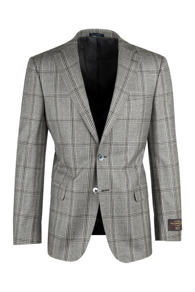 Dolcetto Light Gray with Dark Gray Windowpane Modern Fit, Pure Wool Jacket by Canaletto Menswear 27.542/2  Canaletto - Italian Suit Outlet