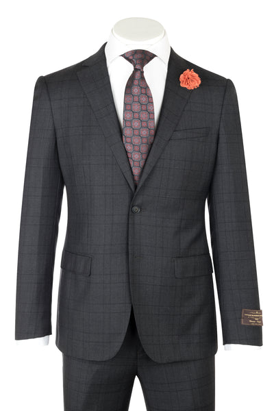 PORTO Slim Fit, Charcoal Gray with Black Stripe, Pure Wool Suit by VITALE BARBERS CANONICO Cloth by Canaletto Menswear 286.740/1  Canaletto - Italian Suit Outlet