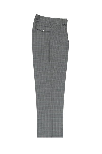 Gray with Blue windopane Wide Leg, Pure Wool Dress Pants by Tiglio Luxe 2981/2134  Tiglio - Italian Suit Outlet