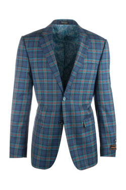 Sangria Blue with Orange and Turqouise Plaid Pure Wool Jacket by Tiglio Luxe 32210/2