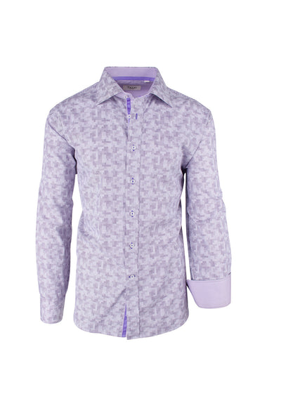 Lavender Geometric Pattern Modern Fit Sport Shirt by Tiglio Sport 3C0892/1  Tiglio - Italian Suit Outlet