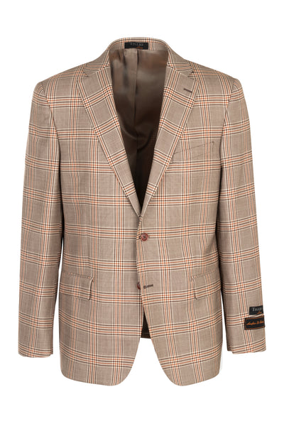 Dolcetto Toupe with brown and rust windowpane, Modern Fit, Pure Wool Jacket by Tiglio Luxe 444123/2  Tiglio Luxe - Italian Suit Outlet