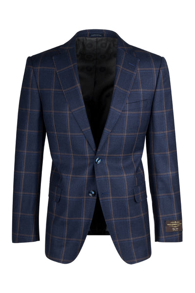 Dolcetto Navy Blue with Rust and Light Blue Windowpane Modern Fit, Pure Wool Jacket by Canaletto Menswear 47.5112/1  Canaletto - Italian Suit Outlet
