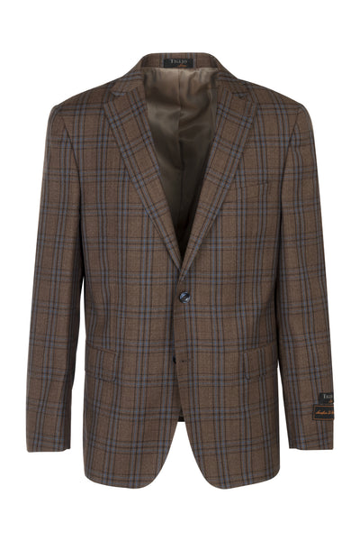 Dolcetto Khaki with brown and blue windowpane, Modern Fit, Pure Wool Jacket by Tiglio Luxe 48051/8  Tiglio Luxe - Italian Suit Outlet